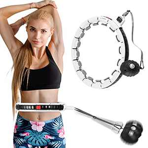 WISEHOME Weighted Hula Hoop for Adults Exercise Trainer Keep Fit Loss Weight Smart Hoola Hoops with 360 Degree Massage & Adjustable Waist, Suitable for Home/Gym/Outdoor/Office
