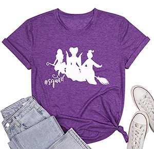 KIDDAD Womens Halloween T-Shirt Bad and Boozy Shirt Boozin Halloween Graphic Short Sleeve Tee Top Shirts (Purple, XL)