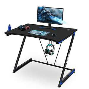 Gaming Desk 39 Inch Computer Desk Gaming Table Z Shaped Pc Gaming Workstation Home Office Desk with Headphone, Gaming Controller Rrack,Black