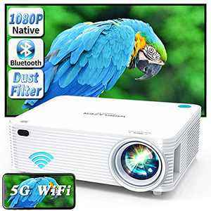WISELAZER 1080p FHD Projector 4K Movie Supported and Gaming Projector, 250 ANSI, Zoom/300''/Dust-Proof/Low Delay <25ms, Video Home Theater Projector Compatible with Smartphone/PC/TV Box/HDMI/USB