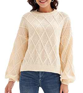 Womens Solid Crew Neck Sweater Comfy Loose Diamond Knitted Pullover Sweater Cream