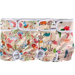 JEUWITH Dog Diapers Female Washable (3 Pack) Reusable Female Dog Diapers Heat Cycle, Strong Water Absorption No Leakage Doggie Diapers, Comfortable Durable Adjustable Belly Band for Female Dogs