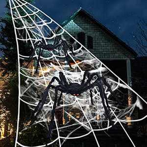 "Spider Webs Halloween Decorations, 23ftx18ft Halloween Spider Web + 60 "" and 35 ""Giant Spiders + 20 pcs Small Spiders + 80g Stretch Web for Indoor Outdoor Halloween Costumes Parties Haunted"