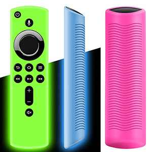 WEVOVE [3 Pack] Remote Cover for TV Stick 4K, Light Weight&Shockproof TV Remote Case, Anti Slip Remote Control Covers for TV Stick (2nd Gen) (Glow Blue/Green+Rose Red)