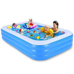 """Inflatable Swimming Pool, 118"""" X 69"""" X 21"""" Full-Sized Family Kiddie Blow up Pool for Kids , Adults, Baby, Children, Thick Wear-Resistant Big Above Ground, Garden, Backyard Water Party for Age 3+"""