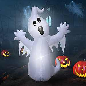 Halloween Inflatable Cute Ghost with Tail, Blow Up Scary Ghost Yard Decorations Clearance with Built-in LED Lights Halloween Decor for Indoor Outdoor Garden/Holiday/Party