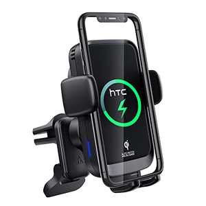 Wireless Car Charger & Car Phone Holder, HTC Auto-Clamping Car Phone Mount Wireless Charger, 15W Fast Charging, Air Vent Car Phone Mount Compatible with iPhone, Samsung, LG, Smartphones