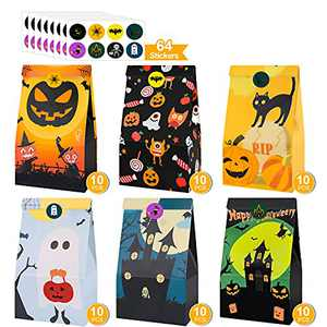 Halloween Treats Bags Party Favors 6 Design 60 PCS Kids Trick or Treat Candy Bags Halloween Stickers, Mini Paper Gift Bags for Treats Snacks, Halloween Goodie Bags Party Supplies