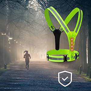 Sanwillco LED Reflective Running Vest, with High Visibility Waterproof Warning Lights, Adjustable Elastic Belt Safety Gear for Night Running, Riding Bike, Jogging, (Green)