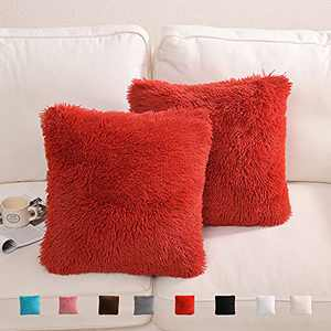 """Yusoki Red Faux Fur Throw Pillow Covers-18"""" x 18"""",Set of 2-Soft Fleece Cushion Cases Fuzzy Fluffy Cozy Pillow Shams for Sofa Bed Decor Couch Bedroom Without Insert"""