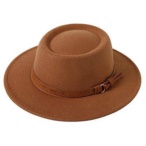 Lanzom Women Vintage Wide Brim Warm Wool Fedora Hat Belt Panama Hat Felt Jazz Hat (B-Khaki, Medium)