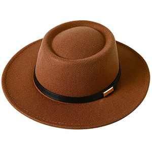 Lanzom Women Vintage Wide Brim Warm Wool Fedora Hat Belt Panama Hat Felt Jazz Hat (A-Khaki, Medium)
