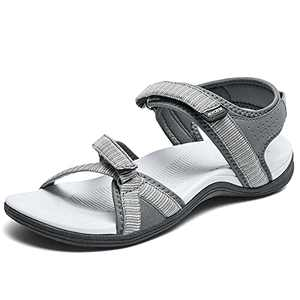 DUINN Womens Hiking Sandal Stylish Sport Sandal Straps with Adjustable Hooks with Arch Support Beach Vacation Casual Camping Grey