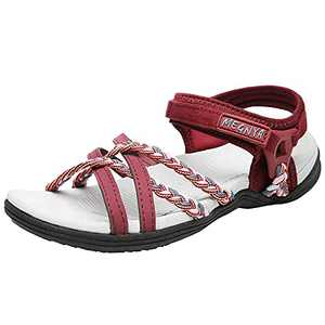 DUINN Womens Hiking Sandal Stylish Sport Sandal Straps with Adjustable Hooks with Arch Support Beach Vacation Casual Camping Bordeaux