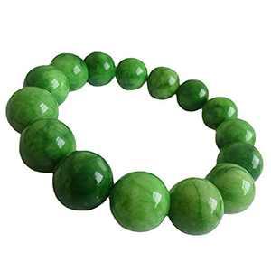 Crloasn 12MM Cold Jade Elastic Beaded Bracelet, Stem Green Jade Stretch Bracelet, Emerald Jade Bracelet