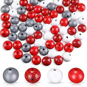 80 Pieces Halloween Wood Beads Buffalo Beads Buffalo Plaid Beads Wooden Loose Spacer Bead Web Pattern Colorful Wooden Beads for Crafts (Red, Grey, White)