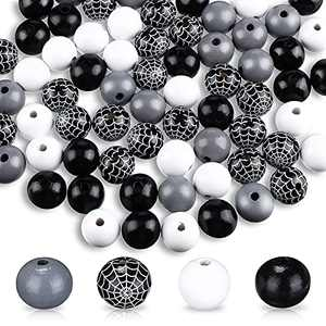 80 Pieces Halloween Wood Beads Buffalo Beads Buffalo Plaid Beads Wooden Loose Spacer Bead Web Pattern Colorful Wooden Beads for Crafts (Black, Grey, White)