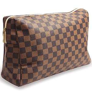 Checkered Travel Makeup Bag, Vegan Leather Large Retro Cosmetic Pouch, Toiletry Travel Bag for Women, Portable and Waterproof Brown Makeup Bag