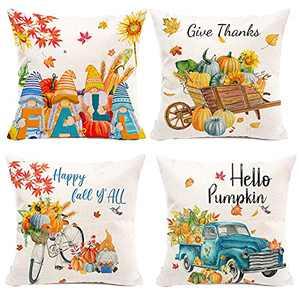 Hexagram Fall Pillow Covers 18x18, Autumn Pumpkin Leaves Decorative Sofa Pillow Covers Set of 4, Fall Linen Gnomes Truck Pillow Case, Farmhouse Couch Outdoor Decorative Pillow