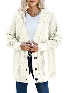 Prinbara Womens Cable Knit Cardigan Long Sleeve Open Front Button Down Knitwear Sweater Coat 408-mibai-XL