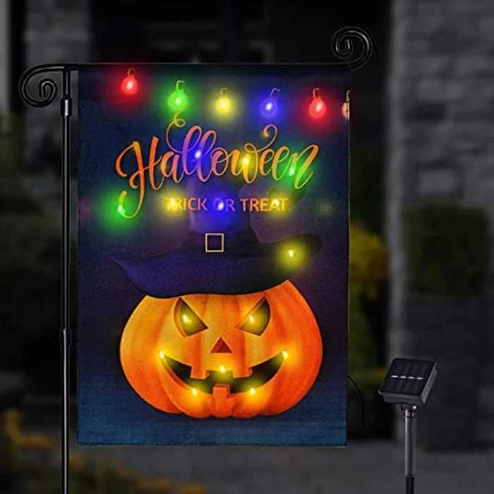 Halloween Decorations Garden Flag,Pumpkin Solar LED Colorful Lights Garden Flag Double-Sided Thick Durable Polyester Garden Flag Suitable for Indoor & Outdoor, Yard(Note: the flagpole not included)