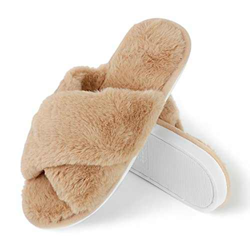 SLOCYCLUB Fuzzy Slippers for Women Cross Band Memory Foam Fluffy Slippers for Women Faux Rabbit Fur Slip On Open Toe Cozy Breathable House Slippers
