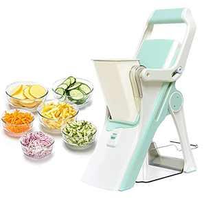 Safe Slice Mandoline Slicer for Kitchen, Stand Up Vegetable Slicer Cutter with Multi Blade, Multi Purpose Potato Chip Slicer for Meat And Fruits