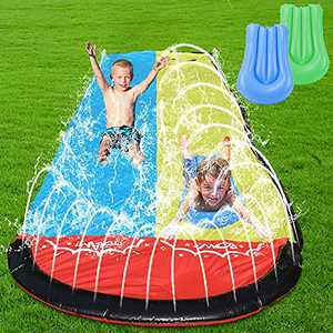 WOMIR Lawn Water Slides for Kids Adults - Slip n Slide Garden Backyard Giant Racing Lanes and Splash Pool, Outdoor 15.7FT Water Slides with Crash Pad Outdoor Water Toys