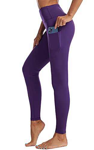 UBFEN High Waisted Yoga Pants for Women with Pockets Tummy Control Workout Leggings Purple Small
