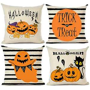 Halloween Pillow Covers 18x18 Pumpkin Striped, Trick or Treat Pillowcases 4 pack,Holiday Neutral Decorative Square Pillow for Sofa Couch Living Room - Halloween Home Decor Throw Pillow Covers Set of 4