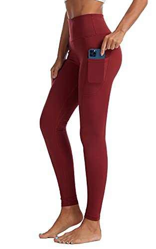 UBFEN High Waisted Yoga Pants for Women with Pockets Tummy Control Workout Leggings Deep Red Medium