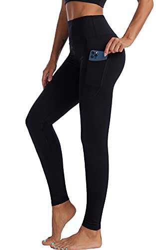 UBFEN High Waisted Yoga Pants for Women with Pockets Tummy Control Workout Leggings Black XX-Large