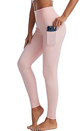 UBFEN High Waisted Yoga Pants for Women with Pockets Tummy Control Workout Leggings Pink Medium