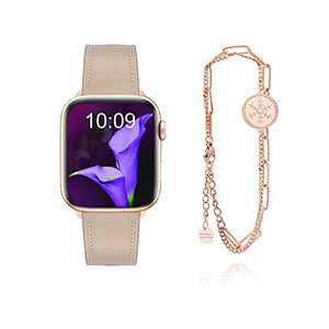 SLIFTER Leather Bands Compatible with Apple Watch Series SE 6 5 4 3 2 1 Band 38mm 40mm for Women Ladies, Soft Leather Replacement Strap for iWatch with Elegant Bracelet Snap Button Light Tan