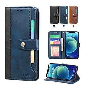 """iyite iphone 12 case with card holder For iPhone 12/12 Pro - 6.1"""", Premium Wallet Case with [Kickstand] [Card Slots] Flip Notebook Cover Case for (iPhone 12/12 Pro - 6.1"""", Blue)"""