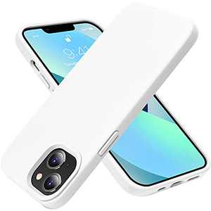 OTOFLY Compatible with iPhone 13 Mini Case,Liquid Silicone Slim Protective Shockproof Phone Case Cover with Anti-Scratch Microfiber Lining, 5.4 inch, White