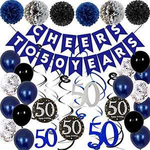 50th Birthday Decorations for Men, Cheers to 50 Years Old Party Balloons Blue Birthday Party Decorations for Women 50th Birthday balloons for 50 birthday Women Party Hanging Swirl Supplies Decor
