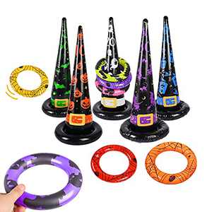 Souarts Halloween Inflatable Toys for Ring Toss Game, 16Pcs Halloween Party Ring Toss Games Set, 5 Inflatable Witch Hats+10 Rings+1 Pump, Halloween Party Decor Indoor Outdoor Yard Games