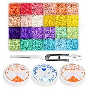 HOVEOX 19200Pcs Glass Seed Beads 24 Colors 2mm Seed Beads Small Glass Seed Beads for Jewelry Making Supply with 3Pcs Elastic String and Tweezers Scissors
