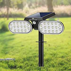 Old Captain 32 LEDs Solar Landscape Spotlights, Waterproof Solar Lights Outdoor IP65 Solar Powered Wall Lights with 3 Modes 2 Adjustable Headlights, Auto On/Off Outdoor Garden Lights for Yard Porch