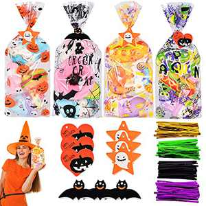 Souarts 120Pcs Halloween Cellophane Bags, Halloween Spider Bat Pumpkin Patterns Candy Gift Treat Bags Packing with Halloween Hangtags, Gift Packing for Halloween Party Favors Supplies 410Pcs Kits