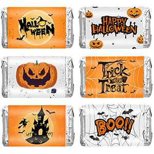 Halloween Party Favors Decorations for Kids, 90 PCS Halloween Mini Candy Bar Wrapper Stickers Happy Halloween Party Supplies for Kids Trick or Treat Chocolate Decorations (90 PCS)