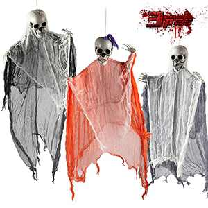 unanscre 3 Pack Halloween Hanging Grim Reapers Decorations, 48 Inches Halloween Skeleton Flying Ghost for Scary Haunted House Prop, Party, Window Wall, Garden, Lawn, Indoor&Outdoor Decor