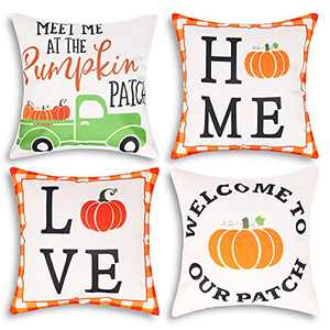 Fall Throw Pillow Covers 18x18,Set of 4 Thanksgiving Pumpkin Pillow Covers,Love Home Outdoor Linen Fall Decor Cushion Covers