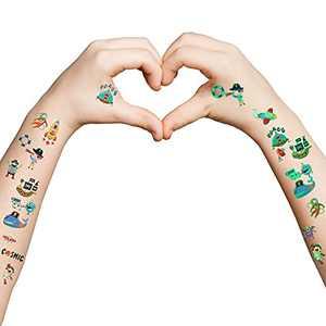 Girls Fake Tattoos Stickers Luminous Temporary Tattoos with Unicorn Dinosaur Mermaid Pirate Construction Theme
