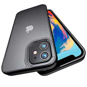 UNIWIALND Shockproof Compatible for iPhone 12/12 Pro case, [Military Grade Drop Tested] Translucent Matte Hard PC Back with Soft Silicone Edge, Anti-Drop Protection, Slim Lightweight, 6.1 inch (Black)