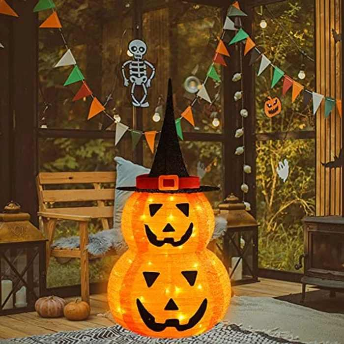 SPRKLINLIN Halloween Pumpkin Decorations Lights Indoor/Outdoor, Fabric Collapsible Pumpkin with Witches Hat Lights, Battery Operated Jack O Lantern, Halloween Lights Decor (95cm Tall)