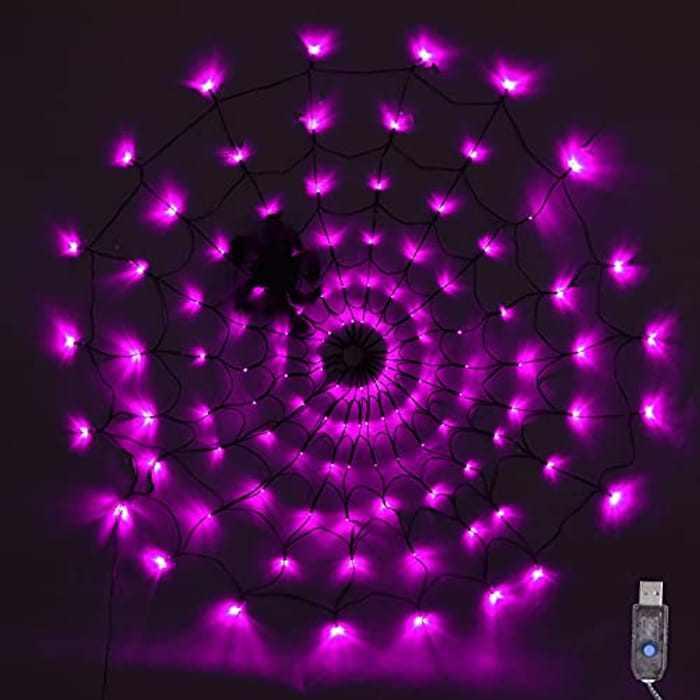 SPRKLINLIN Halloween Spider Web Lights, 120 LED 3.93FT Purple Halloween String Lights with Black Spider Light Up Spider Web Decorations for Halloween Party Outdoor Yard Décor