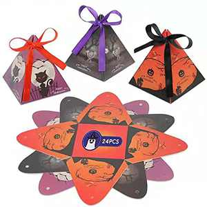 Halloween Candy Bags for Trick or Treat - 24 Pcs small Pyramid-design Halloween gift Boxes with Ribbon for Halloween Party Favos or Decorations(3 Designs)
