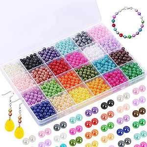 Pearl Beads for Jewelry Making , 1680Pcs 6mm Colorful DIY Craft Round Pearl Beads Loose Bead with Hole for Bracelet Necklace Earring Jewelry Repairing and Making